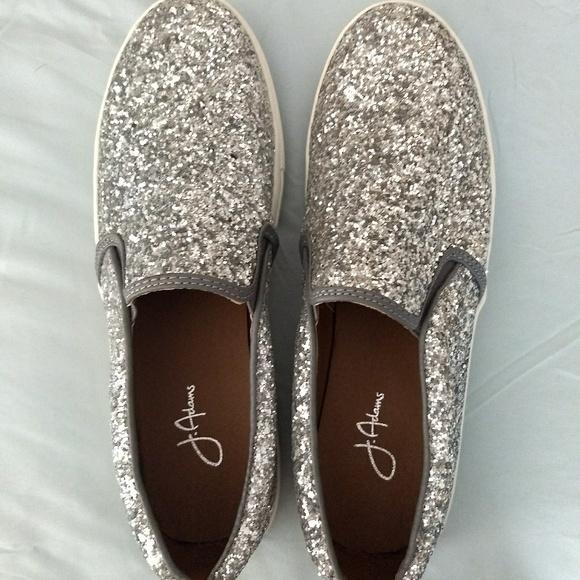 Womens Slip On Silver Glitter Sneakers